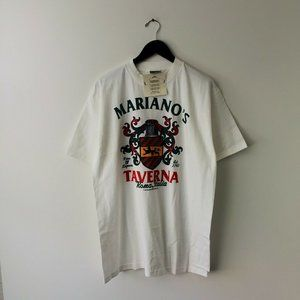NEW VINTAGE Mariano's Tavern T Shirt 90s White L
